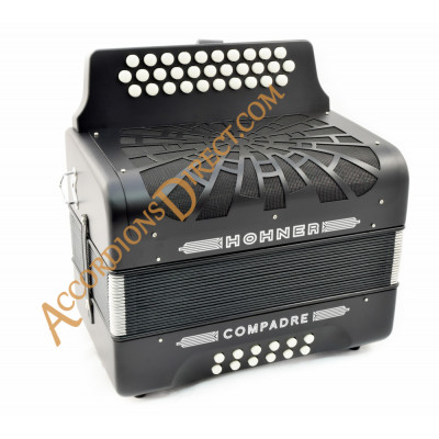 Hohner Compadre 3 row B, C, C sharp black button accordion.  MIDI and microphone options.